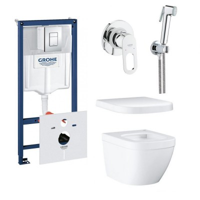 ⇨ Инсталляции | Инсталляция GROHE Rapid SL + Euro Ceramic WC wall hung rimless (38772001+37131000+39206000+39330001) + BauLoop + New Tempesta-F Trigger Spray (29042000+28105000+27512001+28628000) в интернет-магазине ▻ TILES ◅