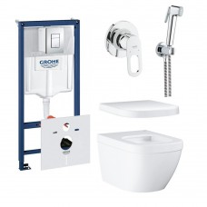 Инсталляция GROHE  Rapid SL + Euro Ceramic WC wall hung rimless (38772001+37131000+39328000+39330001) + BauLoop + New Tempesta-F Trigger Spray (29042000+28105000+27512001+28628000)