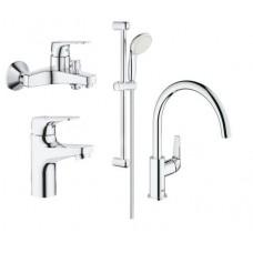 Grohe Набор смесителей BauFlow 4 в 1 для ванны и кухни (121640K)