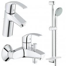 Grohe Набор смесителей Eurosmart 3 в 1 для ванны и душа (123238S)