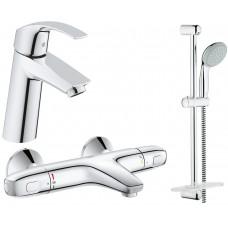 Grohe Набор смесителей Eurosmart 3 в 1 для ванны и душа 34101TM