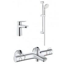 Grohe Набор смесителей BAU LOOP 3 в 1 для ванны и душа с термостатом (34550TS)