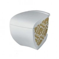 Напольный унитаз Artceram Hi-Line (HIV002 01;89) white glossy/gold damasco