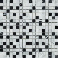 Мозаика MOZAICO DE LUx C-MOS BIANCO CARRARA+NERO MARQUINA POL 10×296×296