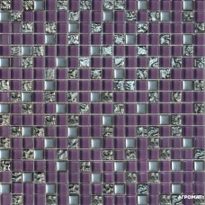 Мозаика Grand Kerama 914 микс фиолетовый-платина рифленая-платина