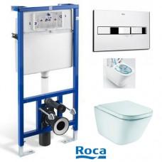 Комплект инсталляция Roca PRO и безободковый унитаз Roca GAP Rimless A34H47C000 с сиденьем slow-closing и клавиша смыва
