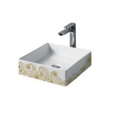 Керамическая раковина 38 см Artceram Scalino, white glossy/gold (SCL001 01;15)