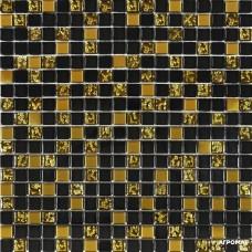 Мозаика Grand Kerama 913 (мікс) черный-золото рифленое-золото