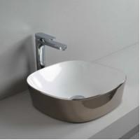 Керамическая раковина 42 см Artceram Ghost, white glossy/platinum bicolor (GHL001 01;57)