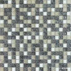 Мозаика Grand Kerama 2100 микс платина колотая-белый-охра 6×300×300
