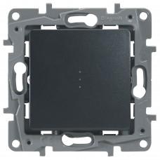 1-клавишный выключатель/переключатель LEGRAND Etika с подсветкой и авт. клеммами Антрацит (672615)