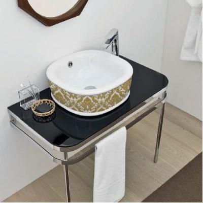 Керамическая раковина 45 см Artceram Azuley, white glossy/gold damasco (AZL001 01;89)