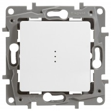 1-клавишный выключатель/переключатель LEGRAND Etika с подсветкой и авт. клеммами Белый (672215)