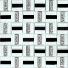 Мозаика Grand Kerama 1077 Трино чоерно-белая 6×300×300