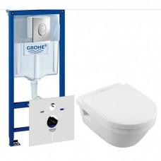 Комплект 4 в 1 инсталляция Grohe Rapid SL 38721001 с клавишей смыва и унитазом Villeroy & Boch Architectura Direct Flush 5684HR01 с сидением soft-close