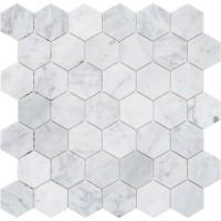 Мозаика MOZAICO DE LUx C-MOS HExAGON BIANCO CARRARA POL 6×305×305