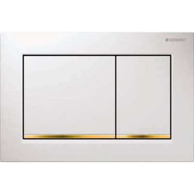 Клавиша смыва Geberit Omega30 пластик, белый/золото 115.080.KK.1