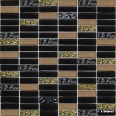 Мозаика Grand Kerama 1084 микс черный-черный рифленый-бежевый 6×300×300