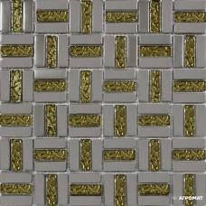 Мозаика Grand Kerama 1087 Трино платина-золото рифленая 6×300×300