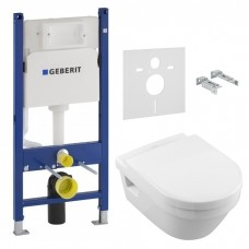 Комплект инсталляция GEBERIT Duofix с унитазом Villeroy & Boch Architectura Direct Flush и сидением soft-close 5684HR01+458.126.00.1