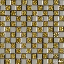 Мозаика Grand Kerama 945 Микс шахматка платина - золото рельеф