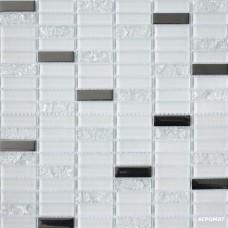 Мозаика Grand Kerama 1086 микс белый-белый колотый-платина 6×300×300