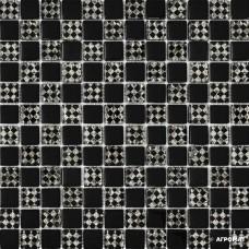 Мозаика Grand Kerama 805 шахматка черный ромб платина