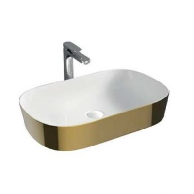 Керамическая раковина 65 см Artceram Ghost, white glossy/gold bicolor (GHL002 01;56)