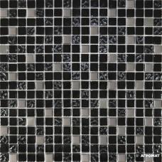 Мозаика Grand Kerama 911 микс черный-черный рифленый верх-платина