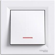 1-клавишный выключатель Schneider Asfora с подсветкой Белый (EPH1400121)