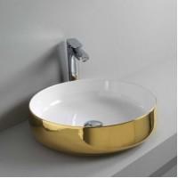 Керамическая раковина 48 см Artceram Cognac, white glossy/gold bicolor (COL002 01;56)