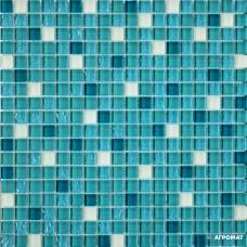 Мозаика Grand Kerama 2082-Микс (Тиффани бирюза белый матовый) 6×300×300