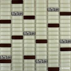 Мозаика Grand Kerama 1085 микс охра-коричневый-платина рифленая 6×300×300