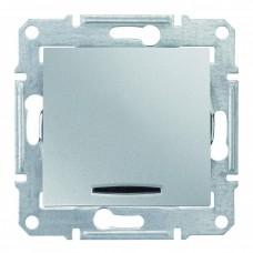 1-клавишный выключатель Schneider Sedna с красной индикацией Алюминий (SDN0400360)